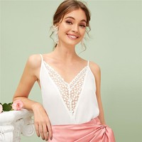 Embroidered Contrast Mesh Insert Cami Top Womens Clothing Sexy White Solid Spaghetti Strap Vests
