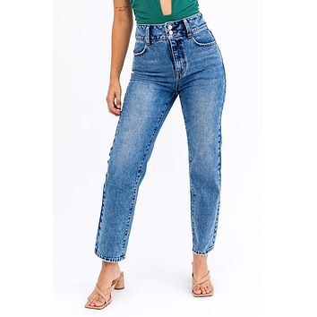 Double Button High Rise Washed Jeans