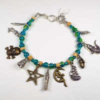 Peter Pan Charm Bracelet with Glass Teal Green Beads
