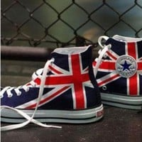 DCCK1IN uk flag union jack converse sneakers hand by emilytamhandpainting