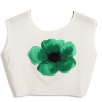 Green Floral Cropped Tee - OASAP.com