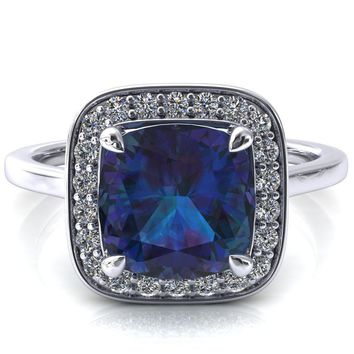 Holly Cushion Alexandrite 4 Prong Pinpoint Floating Halo Scalloped Cathedral Ring