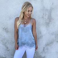 Place in Satin Baby Blue Lace Camisole