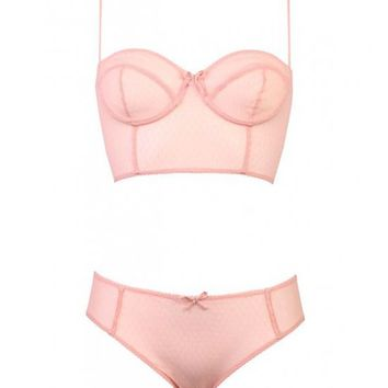 Maya Embroidered Tulle by Velvette Underwear - Pink embroidered tulle bustier with a corset-like laced back