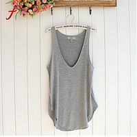 FEITONG Female T-shirt Fashion Summer Woman Lady Sleeveless V-Neck Candy Vest Loose Shirt Tops shirt Tees Casual Solid Clothing