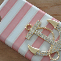 Pink white stripe gold plated beach nautical anchor Samsung Galaxy S4 S5 case iPhone 4/4s iPhone 5/5s iPhone 5c iPhone 6 case