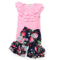 Little Girls Pink Top and Floral Shorts Set