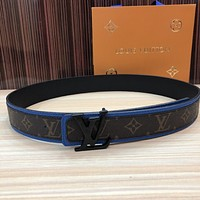 lv louis vuitton womens mens fashion smooth buckle belt leather belt monogram leather belt 41