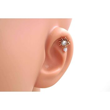 Crystal Sun Rose Gold Helix Cartilage Earring Tragus Piercing 16g