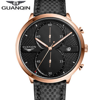 2016 New Fashion Watches Men Luxury Top Brand GUANQIN Big Dial Full Black Sport Quartz Watch Male Wristwatch With Stopwatch