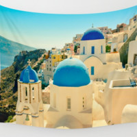 Santorini Greece Wall Art Tapestry Perfect for Living Room or Bedroom