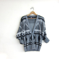 Vintage 1980s abstract Gray and black Speckled Button Up Preppy Oversized Sweater Cardigan // bill cosby