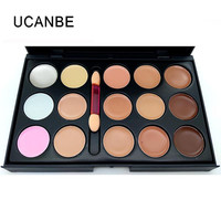 UCANBE Brand 15 Colors Cream Concealer Palette Professional Camouflage Face Contour Makeup With Brush Waterproof Easy To Wear