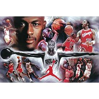 Michael Jordan Collage Painting Poster