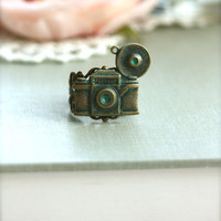 The Photographer Ring.  A Verdigris Oxidized Brass Camera Antiqued Filigree Adjustable Ring. Photo Photography. Traveller. Camera Ring.
