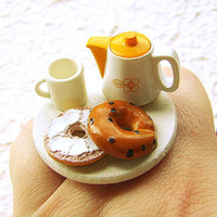 Tea Ring Kawaii Food Bagel by SouZouCreations on Etsy