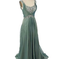 Iridescent Green Chiffon Draped Back Evening Gown