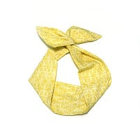 Lemon Yellow Geometric Wire Headband Dolly Bow Knot Headband by All Things in Color