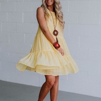 Matty Crochet Babydoll Dress - Canary Yellow