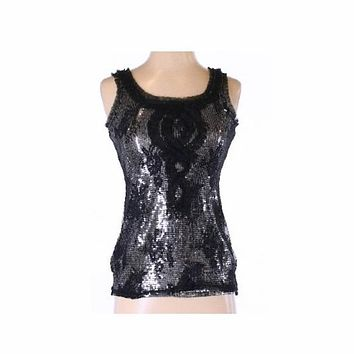White House Black Market Sequin and Overlay Top Large