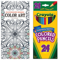 Kaleidoscope Wonders Adult Coloring Book With Crayola Colored Pencils 24 Pack