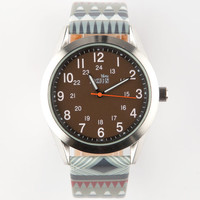 Ethnic Print Band Watch Brown One Size For Men 25193140001