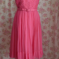 Vintage 1950s Lipstick Pink Chiffon Party Dress Built In Swishy Taffeta Slip 40