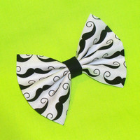 Mustache Hair Bow Black Vintage Inspired Hair Clip Rockabilly Pin up Teen Woman