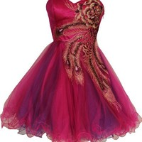 Metallic Peacock Embroidered Holiday Party Homecoming Prom Dress, Medium, Fuchsia