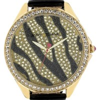 Betsey Johnson Pave Dial Embossed Leather Strap Watch, 48mm