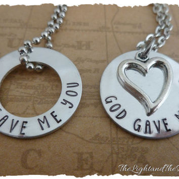 Hand Stamped Couples Necklace - God Gave Me You - Matching - Set - his her