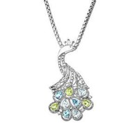 """Sterling Silver Swiss Blue and Light Blue Topaz, Peridot and Diamond Peacock Pendant Necklace (0.12 cttw, I-J Color, I3 Clarity), 18"""""""