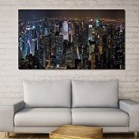 """canik77 Canvas Print Artwork Stretched Gallery Wrapped Wall Art Painting new york city night view from above Size 26x48"""""""