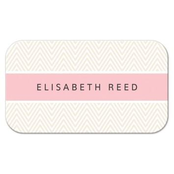 Pink and cream personal profile business card - chevron zigzag pattern