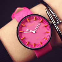 Womens Simple Pink Watch Gift - 541