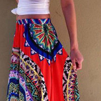 New 2015 Women Skirts Summer Floral Printed Beach Hippie Pleated Skirt Retro Long Maxi Elastic Waist Skirt For Womens