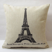 """1 cotton linen Pairs Eiffel Tower  stamp words pattern Retro style decorative pillow cover / cushion case 18"""""""
