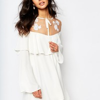 For Love and Lemons Elenora Mini Dress with Embroidery