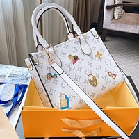 Lv badge shopping bag Monogram Print Shoulder bag handbag White
