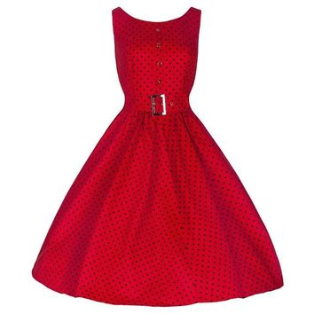 Blooming Jelly Single-breasted Tunic Dress Red Polka Dot Belted Swing Dress Elegant Vintage Dresses 2017