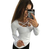 Women Hoodies Long Sleeve Tops Hollow Out Bandage Pullovers Slim Sexy Tops Tees Femme Blusas plus size LJ4515M