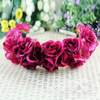 Rose Flower Crown Headbands for Women Wedding Festival Double Row Floral Garland Hairbands NW