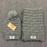 """UGG"" Autumn Winter Warm Women Hairball Hat Knitting Cap Hat Scarf Two Piece Grey"