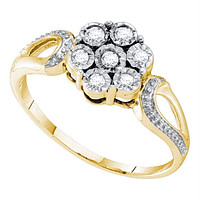 Yellow-tone Sterling Silver Women's Round Diamond Illusion-set Flower Cluster Ring 1/8 Cttw - FREE Shipping (US/CAN)