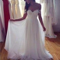 Sexy Chiffon Beach Wedding Dress Vestidos De Novia Elegant Vintage Boho Cheap Wedding Dress A-Line Lace Appliqued Bridal Gown