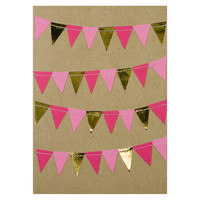 Red Pink Gold Bunting Love Card