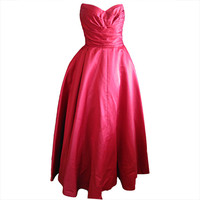 Christian Dior attributed 1950 red silk strapless gown