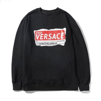 Versace printed long-sleeved circular neck hoodies are hot sellers for casual couples Black