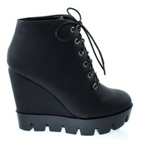 Tense10 Black By Bamboo, Women Faux Fur Lining Combat Ankle Boots, Hidden Wedge Lug Threaded Sole