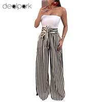 *Online Exclusive* Wide Leg High Waisted Stripe Pants with Waist Tie